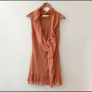 Blue bird knit top w/attached scarf sleeveless L